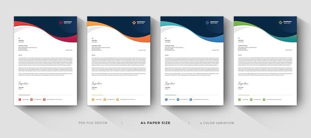 색상 변화가있는 기업 레터 헤드 템플릿 전문 디자인 프리미엄 PSD 파일