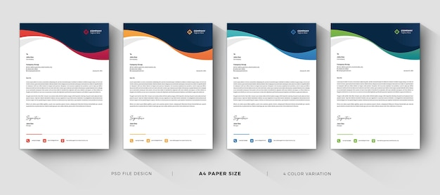 Corporate letterhead templates professional design with color variation Premium Psd