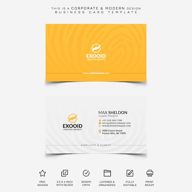 Corporate and modern business card Premium Psd