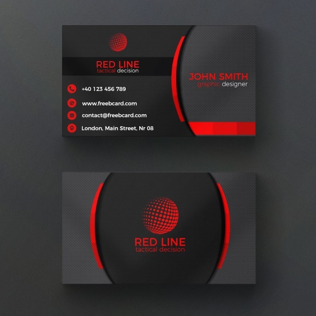 Corporate Red And Black Business Card Free Psd