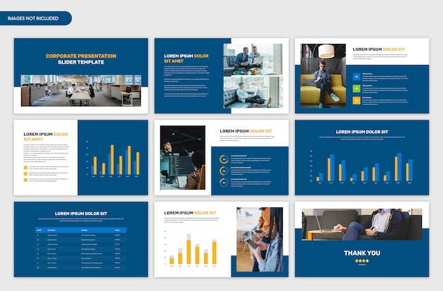 Corporate startup presentation slider template Premium Psd