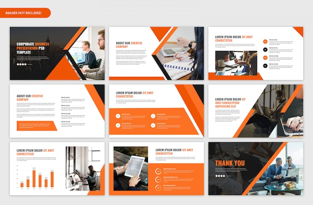 Corporate startup presentation template Premium Psd