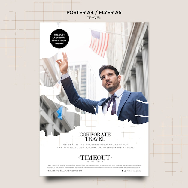 Corporate travel poster template Free Psd