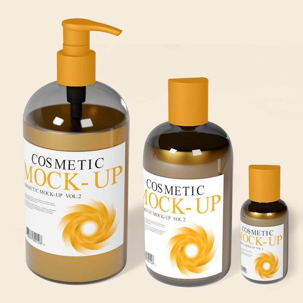 Cosmetic dispenser bottles mockup Premium Psd