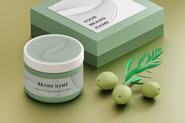 Cosmetic packaging mockup set with cream jar, box with blank labels and green olives Premium Psd