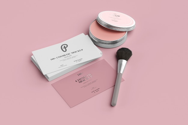 Cosmetic porduct mockups with business cards Premium Psd