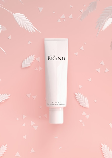 Cosmetic premium skin care moisturizing on leaves surface Premium Psd