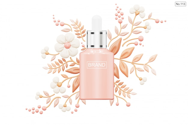 Cosmetic product and foundation in shape of flower on white Premium Psd