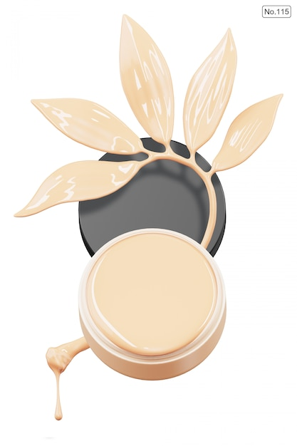 Cosmetic product and foundation in shape of leaf on white . 3d render Premium Psd