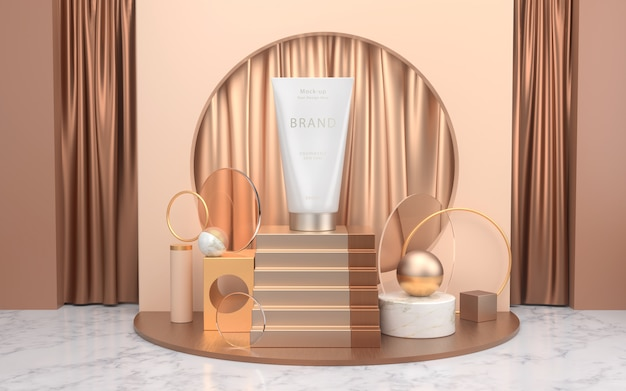 Cosmetic products mockup placed on minimal scene with podium Premium Psd