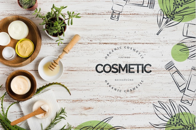 Cosmetic salon decoration with logo template Free Psd