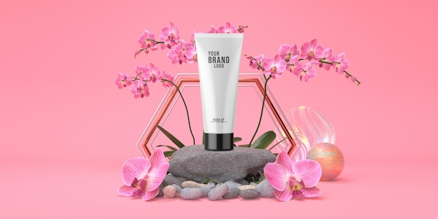 Cosmetic template pink studio with rock podium and tube cream pastel color 3d render Premium Psd