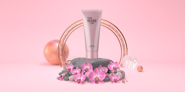 Cosmetic template pink studio with rock stage and orchid flowers pastel color 3d render Premium Psd