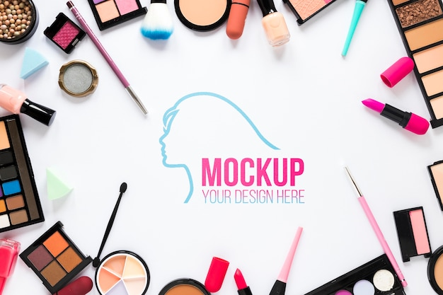 Cosmetics arrangement flat lay Free Psd