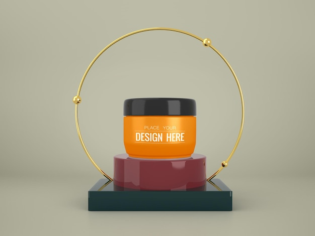 화장품 브랜딩 모형. 브랜딩 및 아이덴티티를위한 패키지입니다. 디자인 준비 무료 PSD 파일