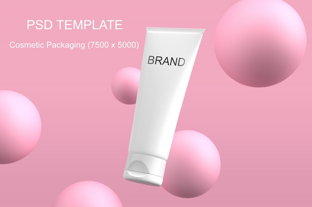 Cosmetics packaging mockup pink sphere psd template Premium Psd