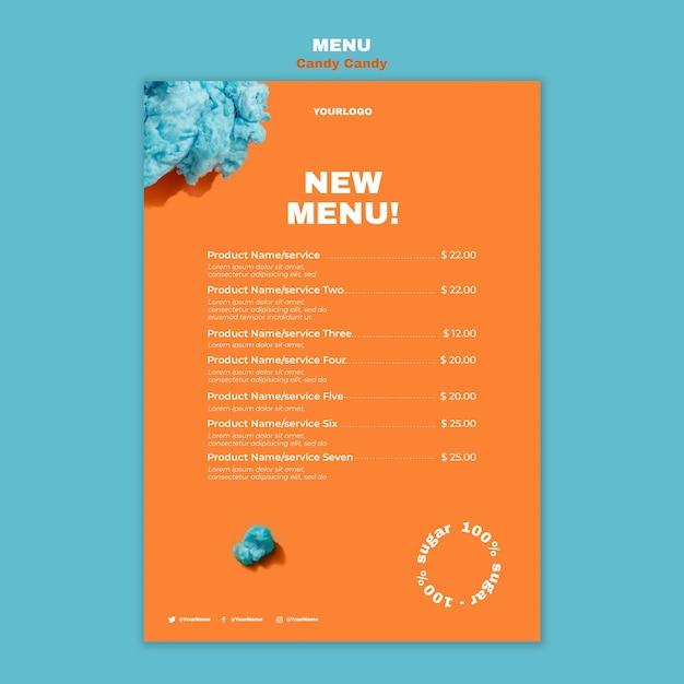 Шаблон печати меню ресторана сахарной ваты на палочке Бесплатные Psd