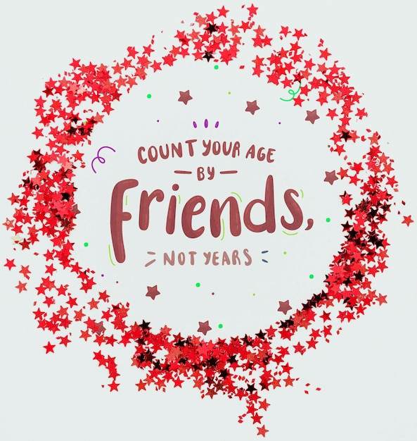 友人が紙吹雪のフレームの形を引用して年齢を数える 無料 Psd