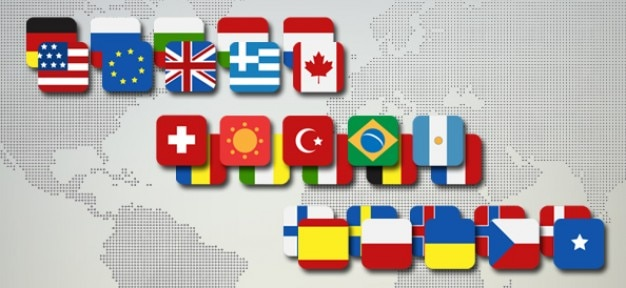 Countries flag icon pack PSD Free Psd