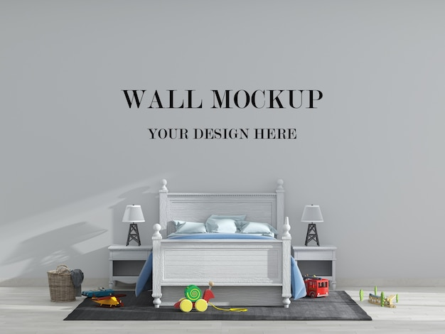 Макет стены детской комнаты в стиле кантри Premium Psd