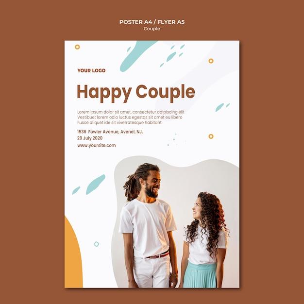 Шаблон плаката концепции пары Бесплатные Psd