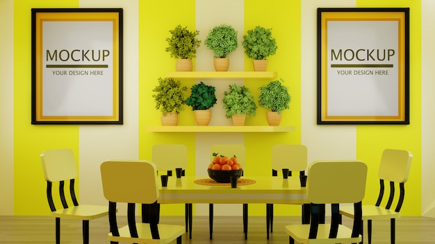 Couple frame mockup on modern yellow dining room wall with plants on wall shelf Premium Psd