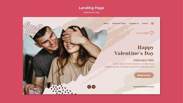 Шаблон целевой страницы пара с днем святого валентина Premium Psd