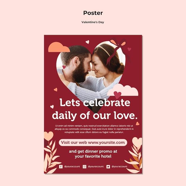 Modello di poster di coppia felice san valentino Psd Gratuite