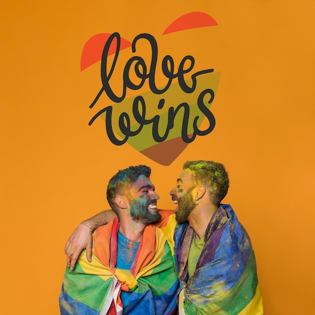 Couple of men in love on gay pride day. love wins Free Psd
