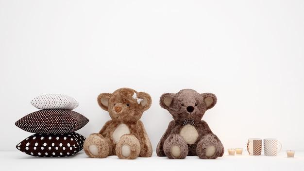 Пара плюшевых мишек с подушками и кофейными чашками Бесплатные Psd