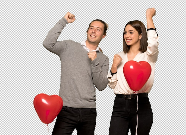 Couple in valentine day celebrating a victory Premium Psd
