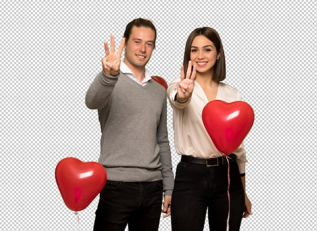 Couple in valentine day happy and counting three with fingers Premium Psd