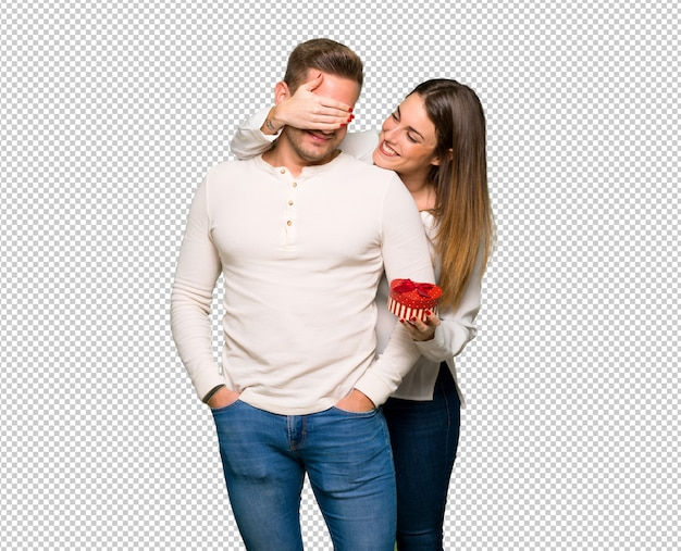 Couple in valentine day holding gift box Premium Psd