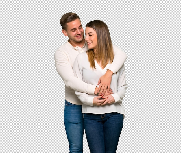 Couple in valentine day hugging Premium Psd