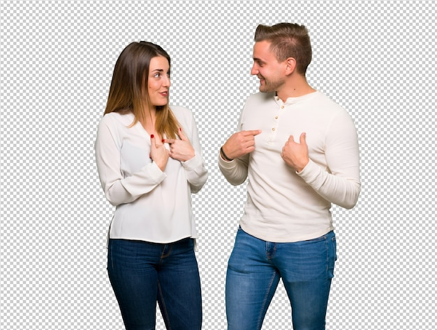 Couple in valentine day with surprise facial expression Premium Psd