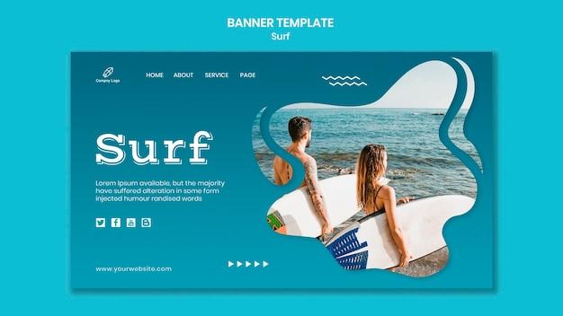 해변 배너에서 서핑 보드와 커플 무료 PSD 파일