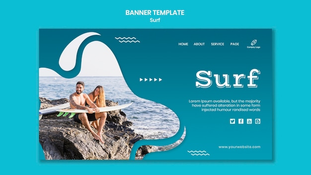 Couple with surfboards sitting on rocks banner Free Psd