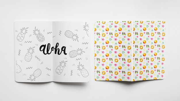 Cover and paper mockup Free Psd