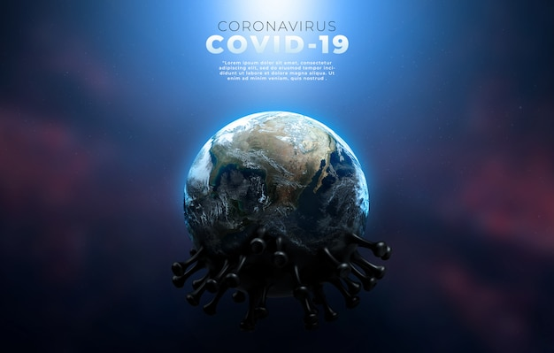 Covid-19、伝染性ウイルスの構造を示すコロナ病感染医療イラスト。 Premium Psd