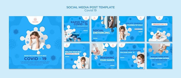Covid-19 instagram post collection Free Psd