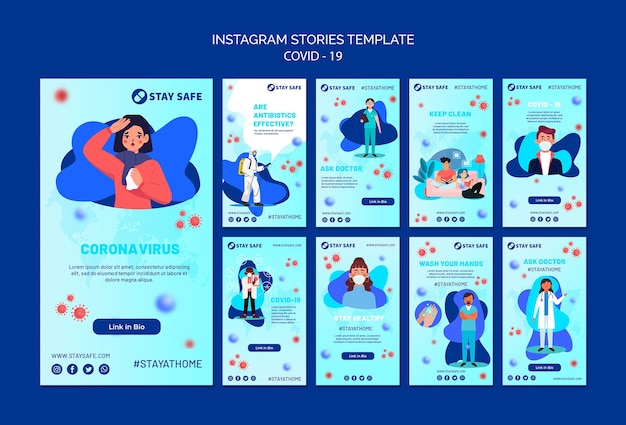 Covid-19 instagram stories template with illustration 無料 Psd