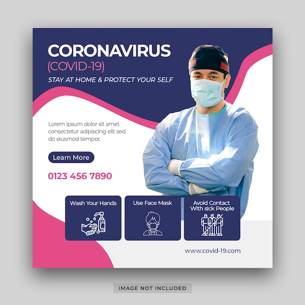コロナウイルス病covid-19ソーシャルメディアポストテンプレートpsdプレミアムpsdの破壊とパンデミック医療健康リスクインフォグラフィック防止要素バナーをアウト Premium Psd
