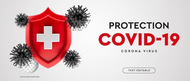 Covid-19シンボルコロナウイルス3dバナー保護 Premium Psd