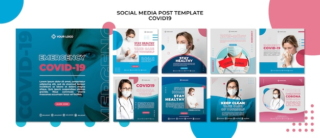 Covid19 social media post  template Free Psd