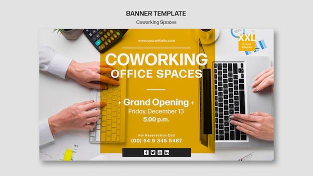 Banner modello di spazio ufficio coworking Psd Gratuite