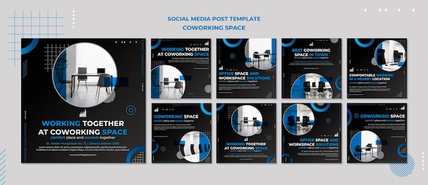Coworking space instagram posts Free Psd