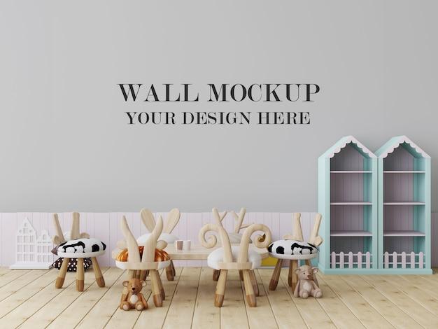 Уютный макет пустой стены детского сада Premium Psd