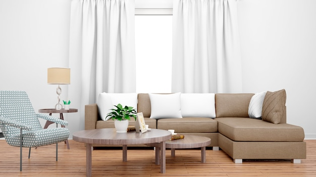 Cozy living room with brown sofa, center table and large window Free Psd