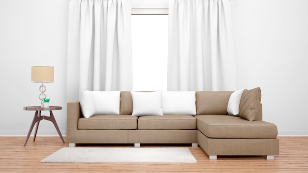 Cozy living room with brown sofa and large window Free Psd