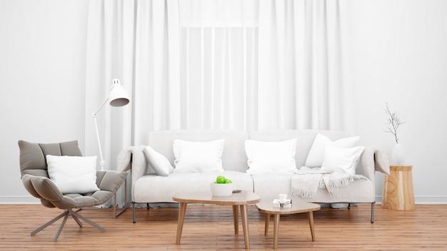 Уютная гостиная с элегантным диваном и креслом и большим окном Бесплатные Psd